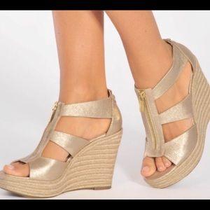 2bc4118ff10d NWOT Michael Kors Gold Wedge Sandals for Sale!